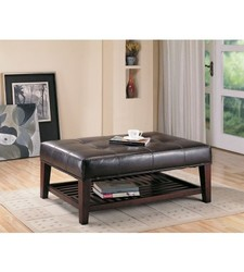 Kaden Cocktail Faux Leather Cube Ottoman with Storage Shelf - Brown