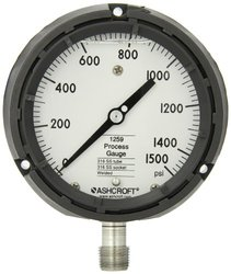 """Ashcroft Type 1259 Solid Front Thermoplastic Case Process Pressure Gauge, Liquid Filled, Stainless Steel Bourdon Tube and Socket, 4-1/2"""" Dial Size, 1/2"""" NPT Lower Connection, 0/1500 psi Pressure Range"""
