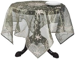 """Saro Lifestyle BD16 Beaded Square Tablecloth - Olive - 40"""" x 40"""""""