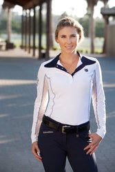 Romfh Competitor Women's Long Sleeve Show Shirt - White Navy -Size: L