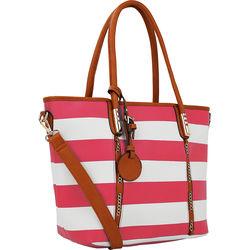 MKF Collection Women's Marina Striped Tote Handbag - Fuchsia - Size: Large