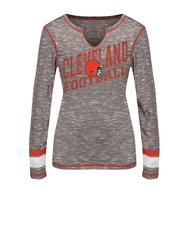 VF LSG NFL Women's Split Crew Neck Tee - Brown Staccato/Fire Red - Size: L