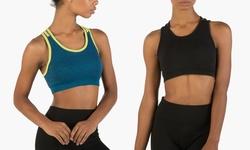 2-Pack Multi Strap Seamless Sports Bra - Black/Navy/Lime - Size: M/L