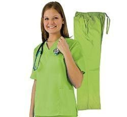 Women's Scrub Set with 6 Pockets: Lime Green/Small