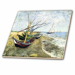 3dRose Van Gogh Painting Fishing Boats On The Beach Ceramic Tile - 6""