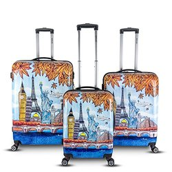 Topline Fashion Hardside Luggage Set: Blue-Orange (3-Piece)