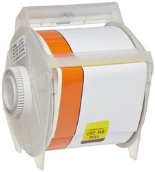 "Brady 113158 GlobalMark 100' Length x 3"" with 0.75"" stripe, B-595 Vinyl, White and Orange Indoor/Outdoor Industrial Label Maker Tape"
