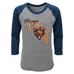 NFL Youth Girl's Chicago Bears Raglan T-Shirt - Heather Grey - Sz: Med