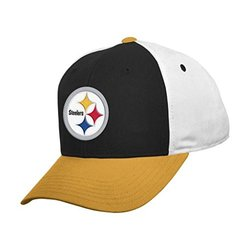 NFL Pittsburgh Steelers Boys 8-20 Color Block Adjustable Cap, Youth One Size, Black