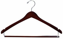 Walnut Suit Hanger with Locking Bar and Notches (Box of 100)