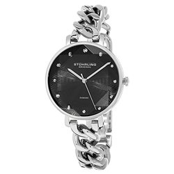 Diamond Chain Link Bracelet Watch: Gp15749 Silver Band-black Dial