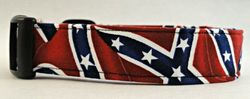 "Johnson 1"" by 21"" Ring and Buckle Dog Collar - Rebel Flag"