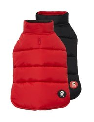 Fab Dog Reversible Puffer Vest Dog Jacket - Red/Black - Size: 18""