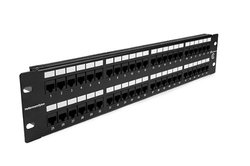Hellermann Tyton PP110C5E48 Category 5e Universal 48 Port Patch Panel, 2U, Black