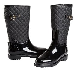Sociology Women's Mid-Calf Quilted Rain Boot - Black - Size: 6