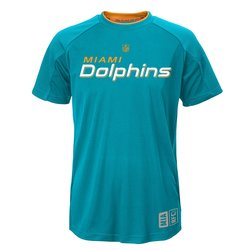 NFL Youth Boy's Miami Dolphins Covert Short Sleeve Top - Aqua - Size: XL