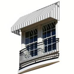 """Awntech 4 Ft New Yorker Window/Entry Awning - Gray/White - Size: 24"""" x 36"""""""