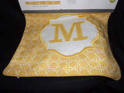 "Threshold Monogram Pillow Cover - Yellow - Size: 18"" X 18"""