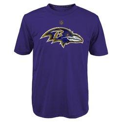NFL Baltimore Ravens Boy's 4-7 Dri-Tek Tee - R Purple - Size: M