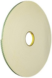"3M 4004 Natural Polyurethane Double Coated Foam Tape, 0.5"" width x 18yd length (1 roll)"