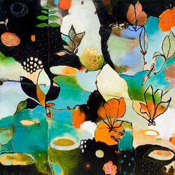 GreenBox Art and Culture Flowerfly Stretched Canvas Wall Art by Flora Bowley, 24 by 24-Inch