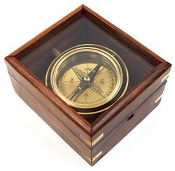 "Firefly Home Collection 4.5"" Master Gimble Compass - Dark Brown"