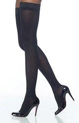 Sigvaris Women's Soft Opaque 30-40 mmHg Open Toe Thighs - Black -Size: M-L