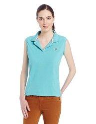 TuffRider Women's Sleeve Less Polo Shirt, Aqua, Small