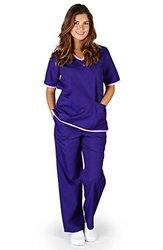 Unisex Medical Scrub Top And Pants: Purple Set-lilac Trim/medium