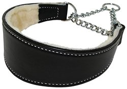 Sheepskin Lined Leather Martingale Dog Collar 2.5In Wide By 20In - Black
