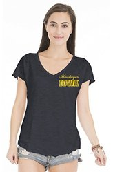 NCAA Iowa Hawkeyes Women's Tommy V Slub V-Neck Tee - Black - Size: Small