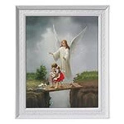 Guardian Angel With Children Picture 8 Inch Print In Gold Leaf Frame