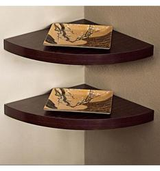 Danya B Laminate Corner Radial Shelves - Walnut - Set of 2
