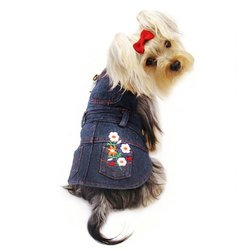 Cute Denim Dog Dress with Embroidered Flowers & Pockets - M