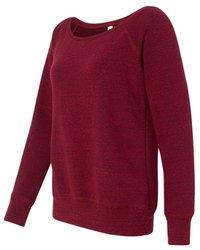Bella Canvas Ladies' Sponge Fleece Wide Neck Sweatshirt - DARK RED TRIBL - 2XL