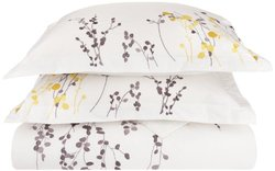 100% Cotton, 3-Piece Full/Queen Single Ply, Soft, Embroidered Reed Duvet Cover Set