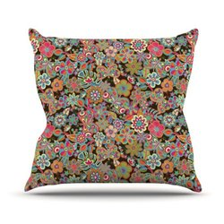"""Kess InHouse 20x20"""" """"My Butterflies and Flowers in Brown"""" Throw Pillow"""