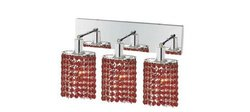 Mini 8-Inch High 3-Light Chrome Finish Wall Sconce - Bordeaux Red
