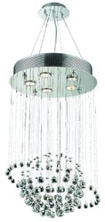 """Galaxy 5-Light 26"""" Height Chrome Dining Chandelier - Crystal Clear"""