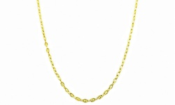 Sterling Silver 14K Diamond Cut Valentino Star Chain - Gold - Size: 30""