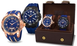 Joshua & Sons Men's Two Piece Watch Gift Set - Blue