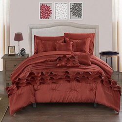 Chic Home 10 Piece Denver Rouching Pleated Ruffles Complete Bed In A Bag Comforter Set Sheets Set And Deocrative Pillows Included, King, Brick