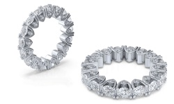 4.00 CTTW Cubic Zirconia Eternity Ring in 18K White Gold Plating - Size:10