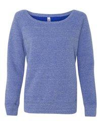 Bella 7501 Women's Sponge Fleece Wide Neck Sweatshirt - Blue Triblend, 2XL