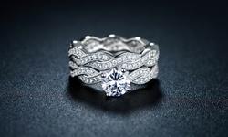 Zales Diamond 18K Unisex CZ Braided Engagement Ring Set - WG - Size: 7