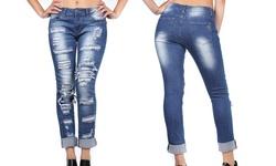 V.I.P Jean Women's Plus Size Distressed Skinny Jeans - Size: 14W