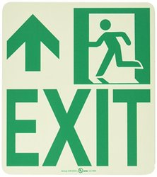 """NMC 50R-6SN-L 7550 Glo Brite Nyc Wall Mont Exit Rigid Glow Sign with Forward/Left Side Graphic, 8"""" Length x 9"""" Height, Green on Pale goldenrod"""