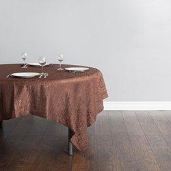 "LinenTablecloth Square Crinkle Taffeta Overlay - Chocolate - Size: 85"""