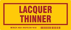 """Brady 60251,  Container Label, 3"""" Height x 7"""" Width, Red on Yellow, Legend """"Lacquer Thinner""""  (25 per Package)"""