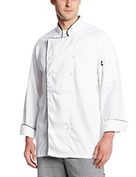 Dickies Occupational Workwear DCP103WHT L Spun Polyester Executive Chef Coat with Piping, Large, White